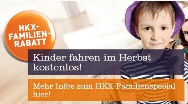 [HKX, bis 31.10.2015] Kinder bis 14 Jahren reisen in Begleitung eines Erwachsenen umsonst (Normalpreis 5€)