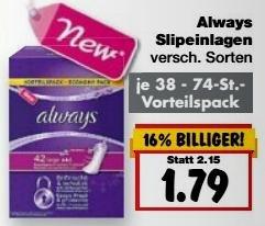 [Kaufland mit BW/BY KW42] Always Slipeinlagen für 0,79€