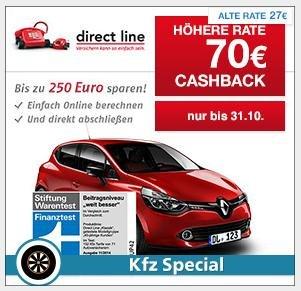 KFZ Special bei Qipu: Direct Line – KfZ-Versicherung mit 70€ Cashback