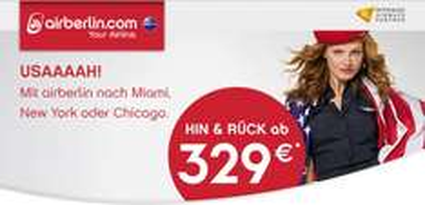 Berlin, Düsseldorf, München nach Chicago, New York mit Airberlin im November bis März ab 300€