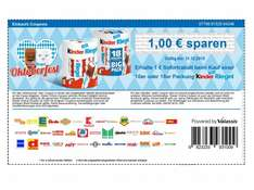 Kinder Riegel 10er für 0,39 durch Coupon