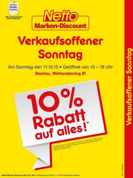 [lokal Dachau] 10% Rabatt am Sonntag, 11.10. @ netto Dachau