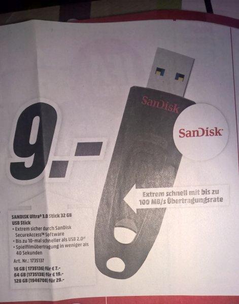 [Bundesweit] Media Markt SanDisk Ultra USB 3.0 ab 16Gb = 7€ bis 128GB = 29€