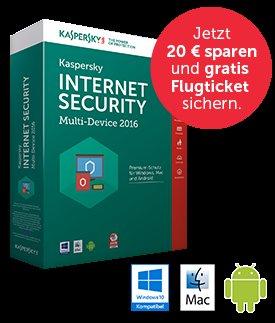 Kaspersky Internet Security – Multi-Device 2016 (3 Geräte | 1 Jahr) + gratis Hin und Rückflugticket (exkl. Steuern) für viele europäische Metropolen für 39,95€