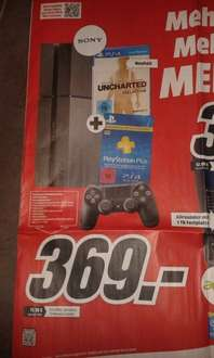 [MediaMarkt] Play Station 4 500 GB inkl. Controller, HDMI- Kabel, Mono-Headset, UNCHARTED - Nathan Drake Collection, 3 Monate PS+ Mitgliedschaft