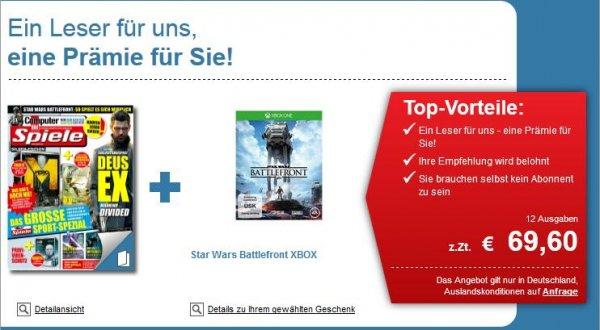 [lesershop24.de] 12 Monatsabo COMPUTER BILD SPIELE GOLD + Star Wars Battlefront Xbox One/PS4 für 69,60€