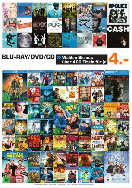 [lokal Saturn Hildesheim] Blu-Rays, DVDs und CDs für 4 €