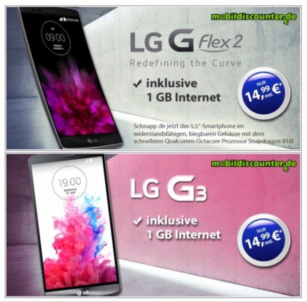 LG G Flex2/G3 für 1€ zum Vodafone Smart Surf für 14,99 €/Monat (1GB + 50 min + 50 SMS)