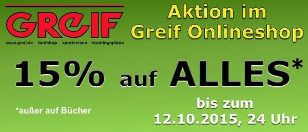 Laufshop www.Greif.de 15% auf alles bis zum 12.10.15