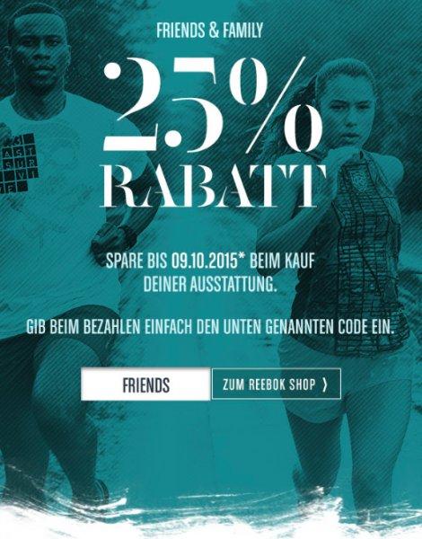 Reebok: 25% Rabatt auf das gesamte Sortiment (auch auf Sale), versandkostenfrei ab 150€
