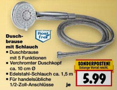 [KAUFLAND BUNDESWEIT] KW42: Duschbrause mit Schlauch für nur 5,99€ (12.-17.10.2015)