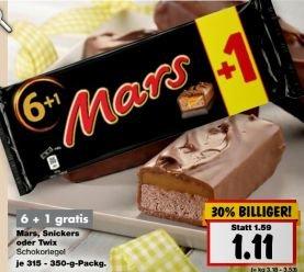 [Kaufland NRW ab 12.10.] Mars, Snickers, Twix 6+1 für 1,11€