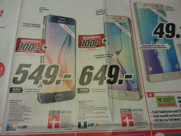 [Lokal MM Backnang] Galaxy S6/S6 Edge 32GB + 100€ Geschenkkarte