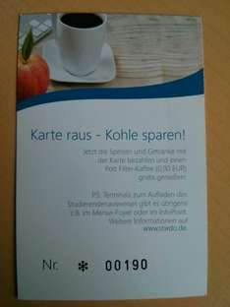Studentenwerk Dortmund - Pott Filter-Kaffee (0,90€) gratis bei Kartenzahlung