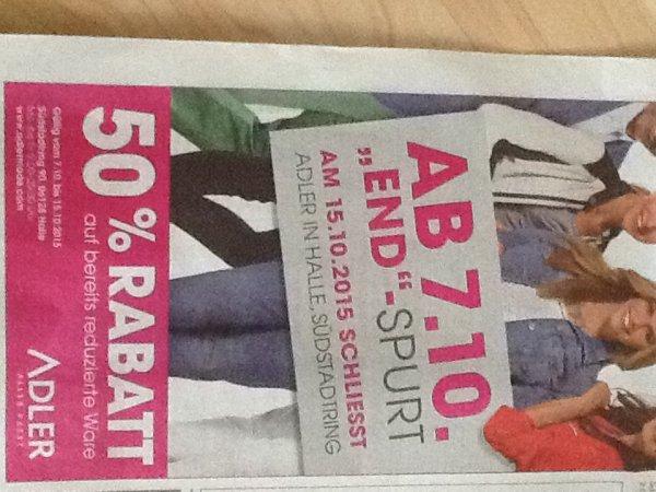(Lokal Halle/Saale) Adler Markt schließt, 50% Rabatt auf bereits reduzierte Ware