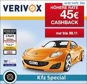 (Qipu) Verivox: 45€ Cashback für Deinen Kfz Versicherungswechsel 2016