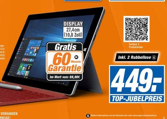 """[Offline Expert-Technikmärkte] Microsoft Surface 3 64 GB, Windows 8.1 Tablet PC, 10,8"""" Full HD, Quad Core CPU inc. 5 Jahren Garantie für 449,-€**Ohne Tastatur**"""