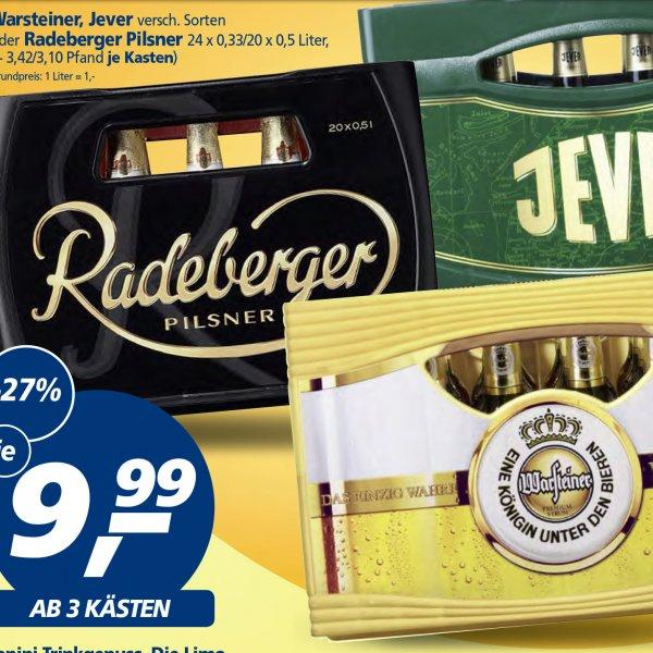 Bier 3 Kisten Warsteiner, Jever oder Radeberger für günstige 29,97 € [Real]