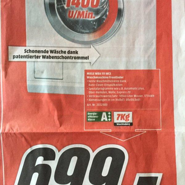 [lokal MediaMarkt Leipzig Höfe an Brühl] Miele WDA 111 WCS Waschmaschine Frontlader