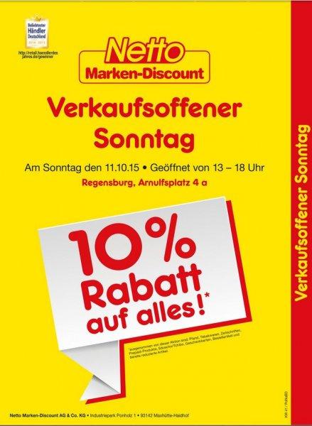 [lokal Regensburg] 10% Rabatt am Sonntag, 11.10.15. Netto Regensburg