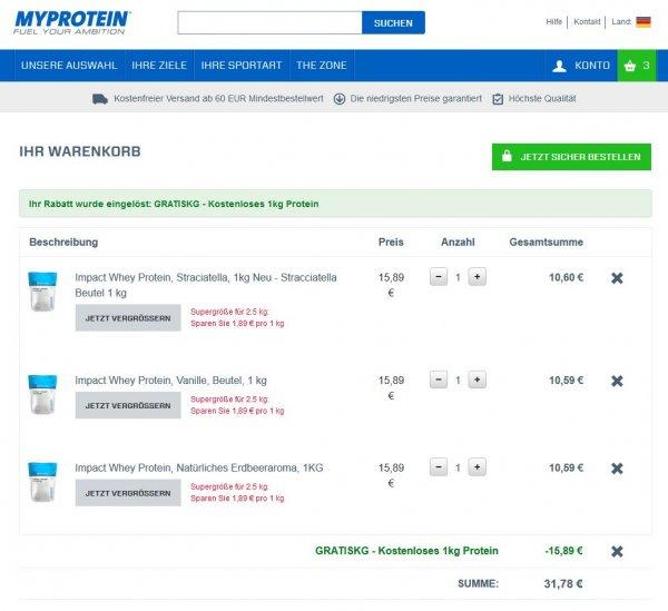 Myprotein Whey 3 KG für 35,73 Euro