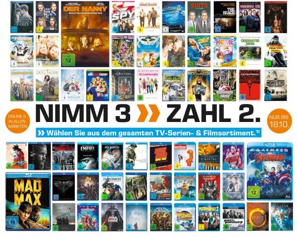 """[Saturn] Neue """"3 für 2"""" Aktion im Bereich Blu-ray und DVD.Gültig auf das gesamte Sortiment.Verschiedene Vorbesteller inc..Aktion ab sofort Online**Update** NUR NOCH HEUTE**"""