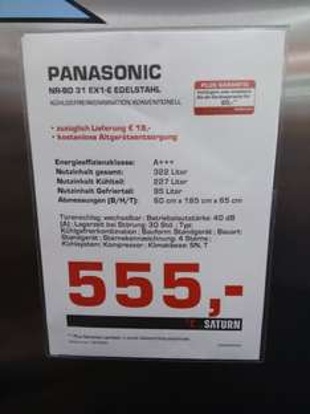 [Saturn Hannover Lokal] Panasonic NR-BD31EX1-E Kühlschrank Kühlgefrierkombination