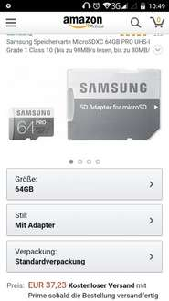 Samsung Pro 64GB microSD mit Adapter @Amazon