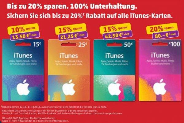 [Penny] Bundesweit - bis zu 20% Rabatt auf ITunes Karten