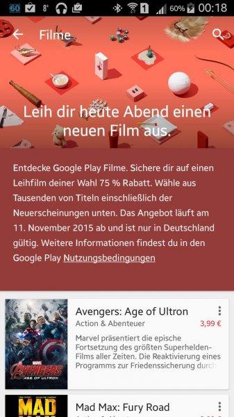 Google Play Filme: 75% Rabatt auf einen Leih-Film