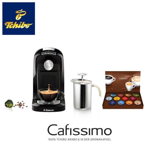 @eBay: Tchibo Cafissimo TUTTOCAFFÈ Philips Saecco Kaffeemaschine (40 Monaten Garantie) + Hand-Milchaufschäumer + 12 Kapseln 29,99 Euro