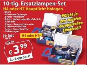 Kfz-Scheinwerferlampenbox H4 - H7/ 10-teilig / für 3,99€ offline oder online+VSK http://sonderpreis-baumarkt.de/