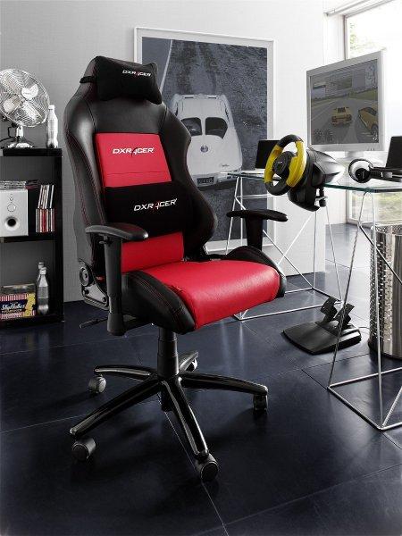 [Amazon] DX Racer4 Chefsessel mit Armlehnen, Gestell Alu schwarz, 74 x 50 x 117-127 cm, Kunstleder PU schwarz / rot