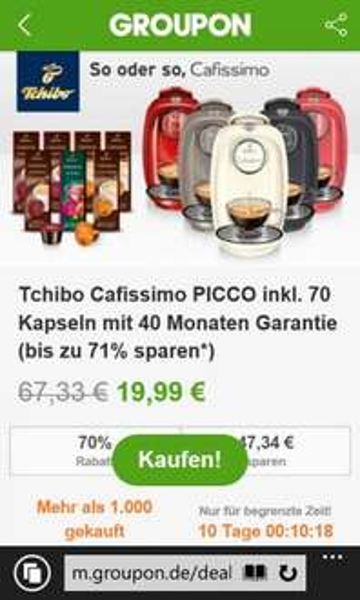 [Groupon]  Tchibo Kaffeemaschine cafissimo Picco inkl. 70 Kapseln
