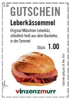 [lokal Bayern] Warme Leberkässemmel für 1€ @ vinzensmurr Metzgereien
