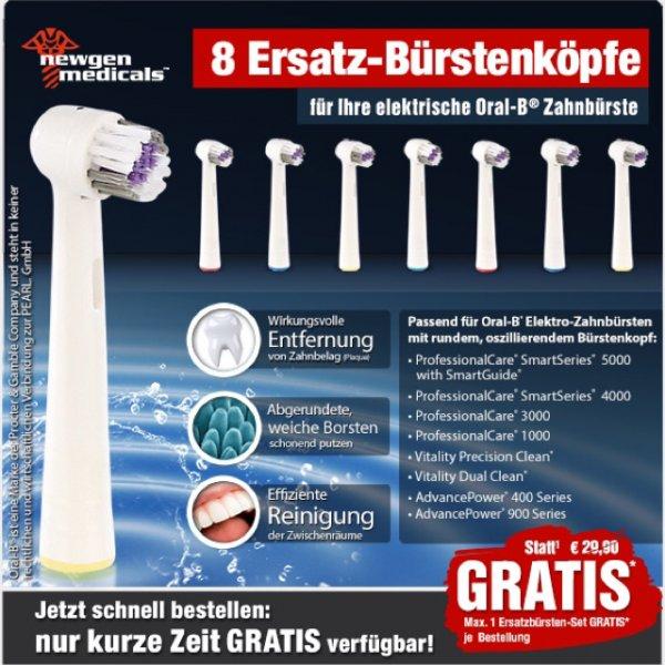 Oral-B Ersatzbürsten nur Versandkosten bei Pearl.de 8 Stück, nur noch 12 Minuten