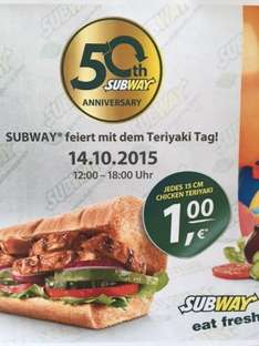 [Stuttgart] Chicken Teriyaki 1€ am 14.10.2015 Subway Rotebühlplatz