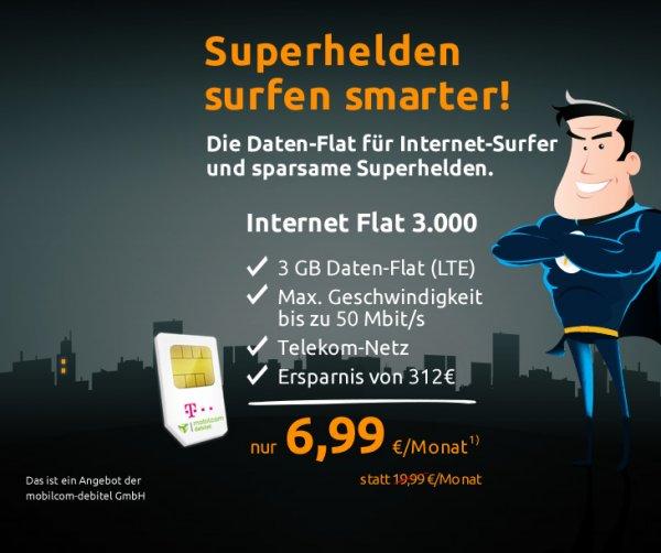 mobilcom-debitel: 3 GB LTE-Internet-Flat im Telekom-Netz für nur 24x 6,99€ (167.76€)