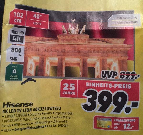 "[Lokal Medimax Dresden] Hisense 40"" Fernseher 40K321UWTSEU"
