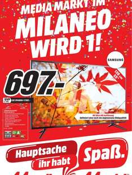 Samsung UE55JU6050 138 cm (55 Zoll) Fernseher (Ultra HD, Triple Tuner, Smart TV)@ Media Markt Stuttgart für 697€