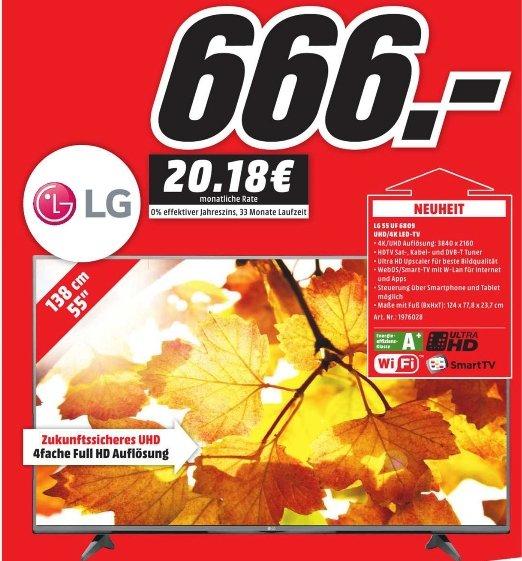 [Lokal Mediamärkte Hamburg und Umgebung] LG 55UF6809 UHD/4K LED Smart-TV, 139 cm (55 Zoll), DVB-T/C/S2 für 666,-€