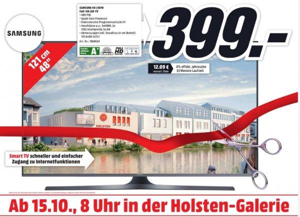 [Lokal Mediamarkt Neumünster] Ab 15.10..Samsung UE48J5670,48 Zoll,Energie-Effizienzklasse A+ DVB-T, DVB-C, DVB-S, Full HD, Smart TV, Wireless Lan, CI+ Schwarz für 399,-€