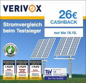 (Qipu) Verivox: 26€ Cashback für Deinen Stromanbieterwechsel