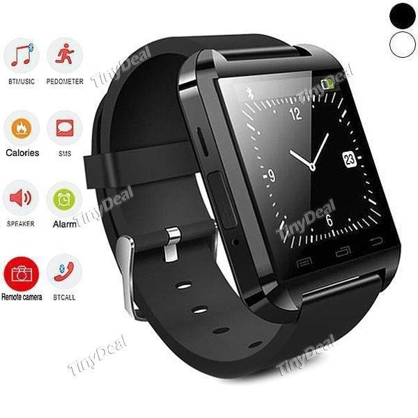 Einsteiger Smartwatch mit sehr gutem P/L Verhältnis Uwatch U8 Bluetooth 4.0 Smartwatch mit Anruffunktion / Fitnesstracker & Co sowie Android & iOS App schwarz / weiß @tinydeal