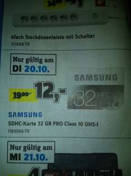 Samsung SDHC Pro 32GB nur am 20.10 @Conrad