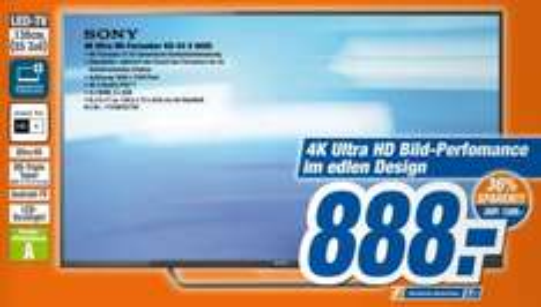[expert Technomarkt] Sony KD-55X8005CBAEP 55 Zoll, LED, 4K UHD, DVB-T2/C/S2 für 888€ bzw. 909,99€ online