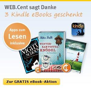 Jetzt für den Web Cent (web.de) Newsletter anmelden und drei Amazon kindle e-books kostenlos erhalten