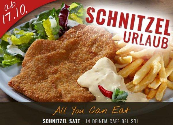 SCHNITZELURLAUB - ALL YOU CAN EAT - 11,90 € - CAFE DEL SOL - Mo - Fr ab 11 Uhr, Sa ab 12 Uhr und So ab 14 Uhr, tägl. bis zum Zapfenstreich - AB 17.10.2015
