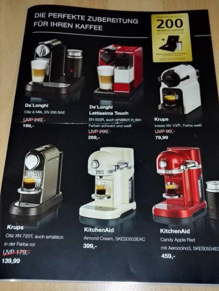 [Kaufhof München - offline] Nespresso Kaffeemaschinen im Angebot + bis zu 200 Kapseln + Thermobecher + Rezeptbuch