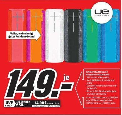 [Lokal Mediamarkt Fulda] Logitech Ultimate Ears UE Boom 2, Bluetooth® Lautsprecher mit NFC alle Farben für je 149,-€